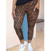 lovely Stylish Leopard Print Brown Leggings