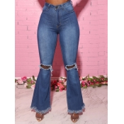 lovely Trendy Hollow-out Flared Blue Jeans