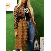 lovely Trendy Leopard Print Patchwork Long Coat