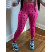 lovely Sportswear Print Skinny Rose Red Pants