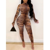 Lovely Trendy Turtleneck Skinny Zebra Stripe One-piece Jumpsuit(Batch Print)