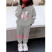 Lovely Sportswear O Neck Letter Print Grey Girl Two-piece Pants Set