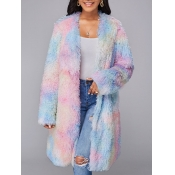 lovely Stylish Tie-dye Loose Pink Faux Fur