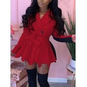 Lovely Trendy Turndown Collar Patchwork Fold Design Red Mini Dress
