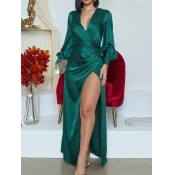 lovely Stylish Deep V Neck Side High Slit Green Ma