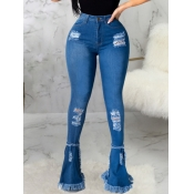 lovely Street High-waisted Broken Holes Blue Jeans