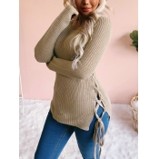lovely Leisure O Neck Bandage Design Khaki Sweater