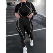 Lovely Sportswear Patchwork Skinny Black Two Piece Pants Set