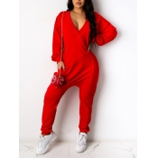 lovely Casual Deep V Neck Loose Red One-piece Jumpsuit