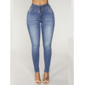 lovely Street Buttons Design Skinny Blue Jeans