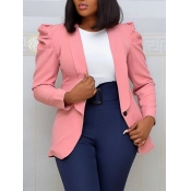 lovely Stylish Turndown Collar Fold Design Pink Bl