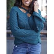 lovely Leisure Cross-over Design Blue Sweater
