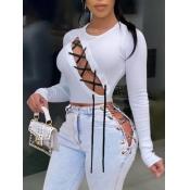 lovely Sexy O Neck Bandage Design White T-shirt