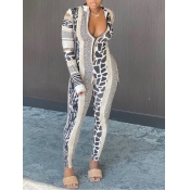 lovely Trendy Leopard Print Patchwork One-piece Jumpsuit(Batch Print)