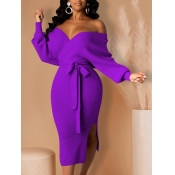 Lovely Trendy Backless Lace-up Purple Mid Calf Dre