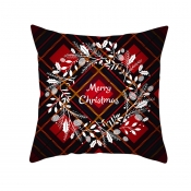 Lovely Christmas Print Red Decorative Pillow Case