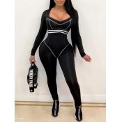 Lovely Sportswear Patchwork Skinny Black One-piece Jumpsuit