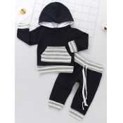 Lovely Stylish Hooded Collar Striped Patchwork Bla