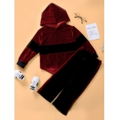 Lovely Sportswear Hooded Collar Patchwork Wine Red