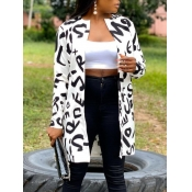 lovely Stylish Letter Print White Coat