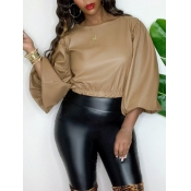 lovely Stylish Puffed Sleeves Light Tan Blouse