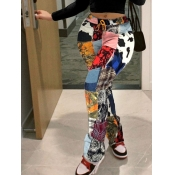 Lovely Street Print Skinny Multicolor Pants
