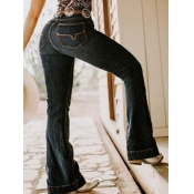 lovely Stylish High-waisted Embroidered Black Jean