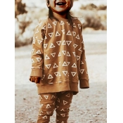 lovely Casual O Neck Print Coffee Girl Hoodie