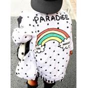 lovely Street Shirt Collar Print White Girl Coat