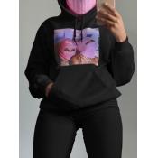 lovely Leisure Hooded Collar Print Black Hoodie