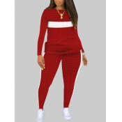 Lovely Casual O Neck Patchwork Red Plus Size Two-p