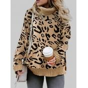 lovely Stylish Turtleneck Leopard Print Plus Size