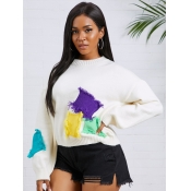 lovely Street O Neck Patchwork White Sweater