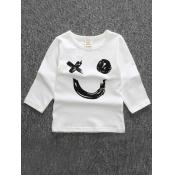 lovely Casual O Neck Print White Boy T-shirt