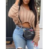 Lovely Sweet V Neck Striped Khaki Sweater