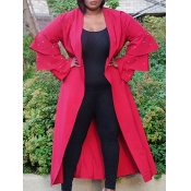 lovely Stylish Lotus Leaf Sleeves Red Long Trench