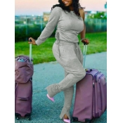 lovely Casual One Shoulder Fold Design Grey Two Pi