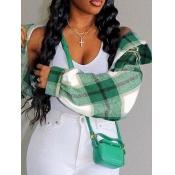 lovely Leisure Turndown Collar Grid Print Green Coat