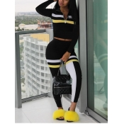 Lovely Sportswear Turndown Collar Patchwork Black Two Piece Pants Set