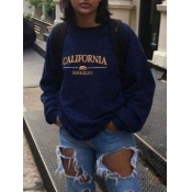 lovely Casual O Neck Letter Print Navy Blue Hoodie