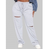 lovely Casual Broken Holes Grey Plus Size Pants