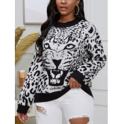 lovely Stylish O Neck Print White Sweater