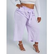 lovely Leisure Lace-up Light Purple Plus Size Pant