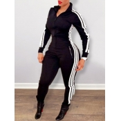 lovely Sportswear Zipper Design Patchwork Black One-piece Jumpsuit