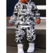 Lovely Sportswear Hooded Collar Camo Print Grey Boy Two-piece Pants Set