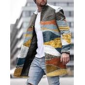 lovely Casual Mandarin Collar Print Multicolor Men Wool