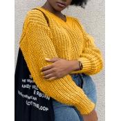 lovely Sweet V Neck Basic Yellow Plus Size Sweater