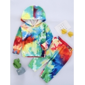 Lovely Stylish Hooded Collar Tie-dye Red Girl Two-