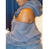 Lovely Casual Hooded Collar Zipper Design Grey Hoo