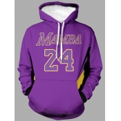 lovely Leisure Hooded Collar Letter Print Purple Men Hoodie